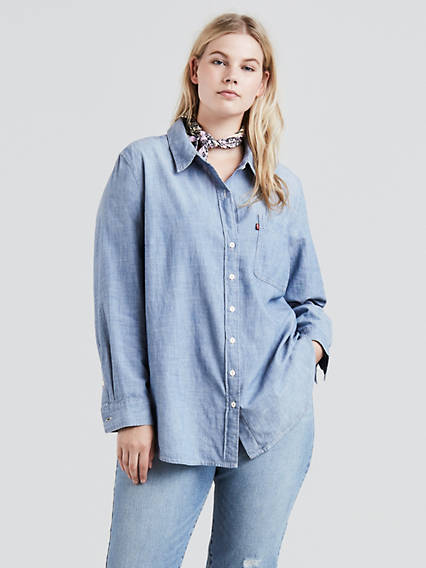 Ryan 1 Pocket Boyfriend Shirt (Plus Size)