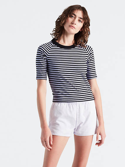 Line 8 Short Sleeve Ribbed Cropped Tee