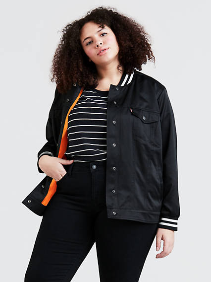 Varsity Trucker Jacket (Plus Size)