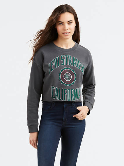 Graphic Raw Cut Crew Sweatshirt