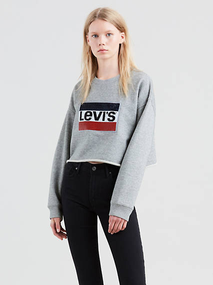 Graphic Raw Cut Hem Sweatshirt