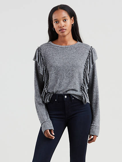 Long Sleeve Ruffled Tee Shirt