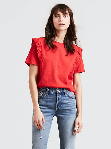 Short Sleeve Ruffled Tee Shirt