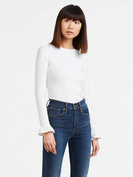 Ribbed Ruffle Sleeve Tee Shirt