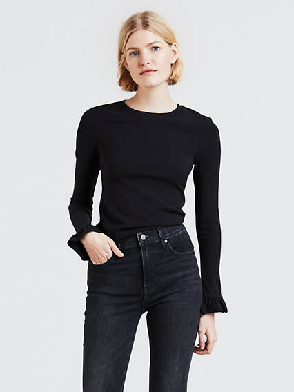 Ribbed Ruffle Sleeve Tee