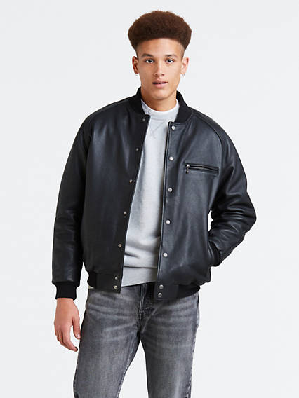 Leather Varsity Bomber Jacket