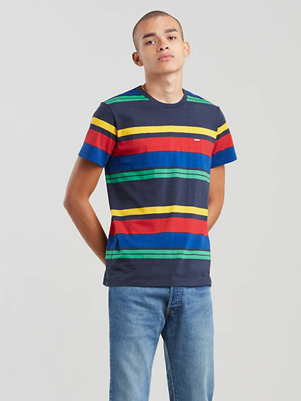 Levi's® Chest Patch Logo Striped Tee Shirt