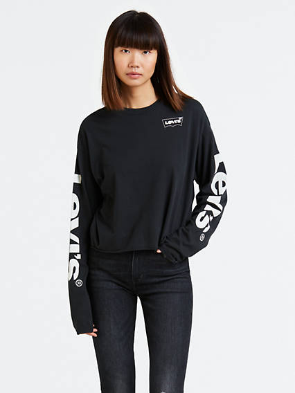 Graphic Cropped Long Sleeve Tee Shirt