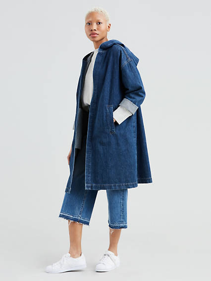 Long Denim Hoody Jacket