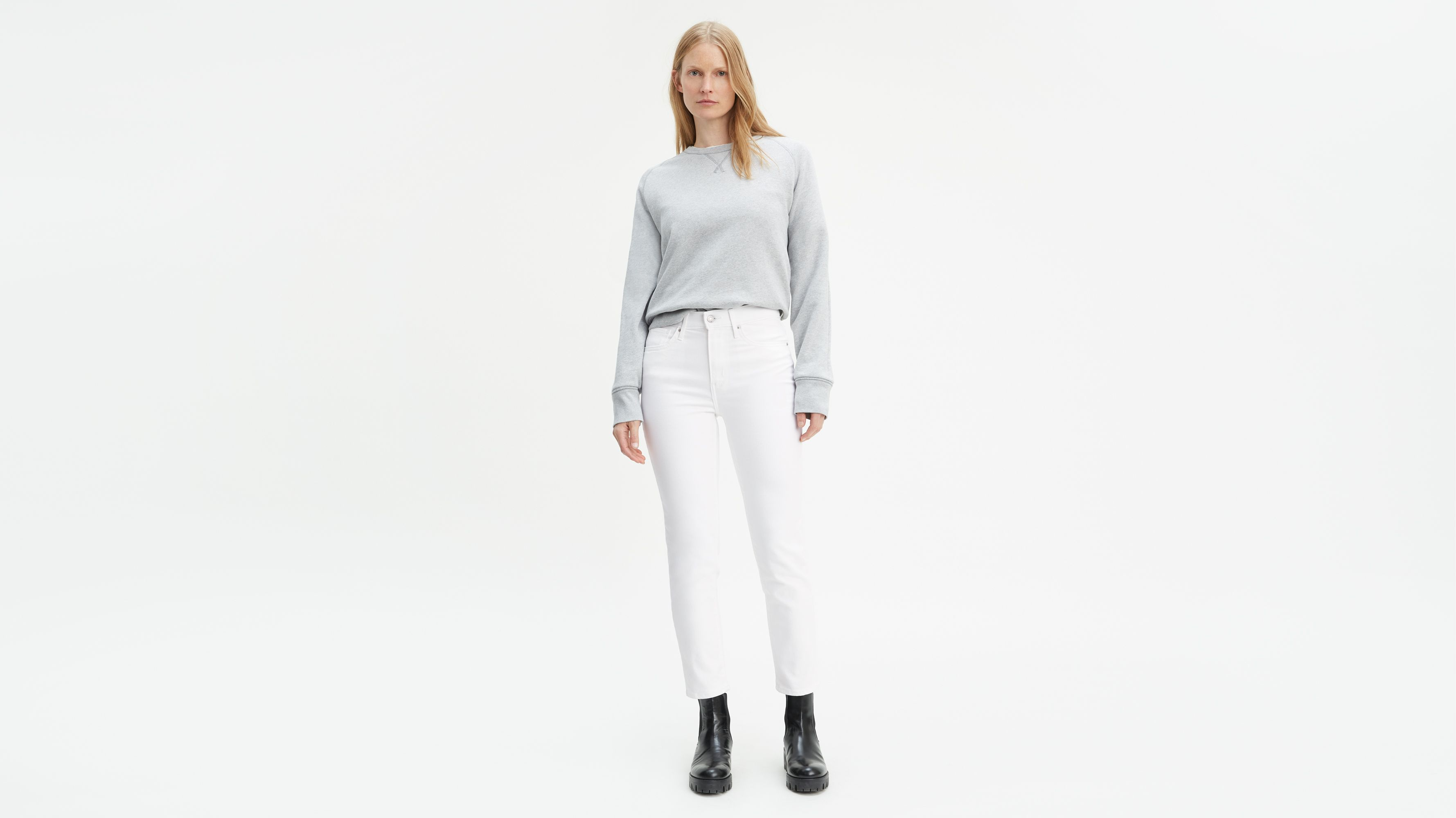 be5a3bc4d66e 724 High Rise Straight Crop Twill Jeans - White | Levi's® US