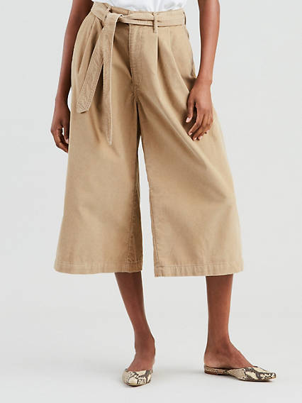 Wide Leg Pleated Corduroy Pants