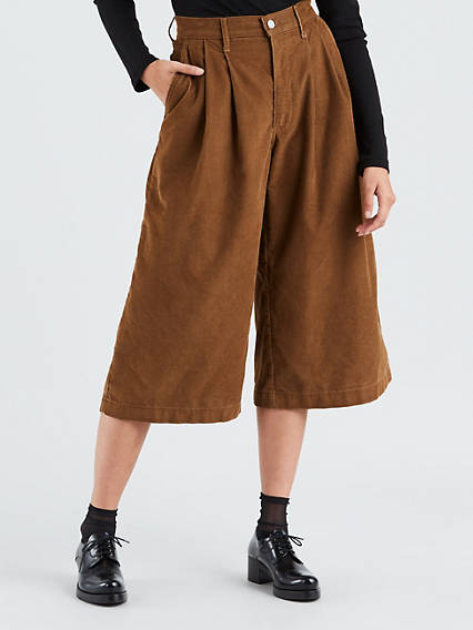 Wide Leg Pleated Crop Trousers