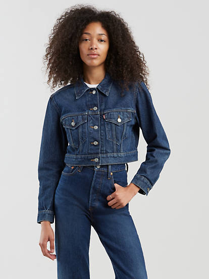 beautiful in colour quality and quantity assured latest sale Cropped Trucker Jacket