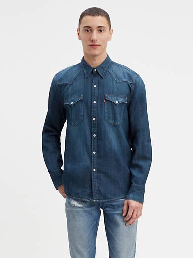 Levi/'s 658160216 MEN/'S Barstow Western Jeans Chemise En Jean Noir Full manches