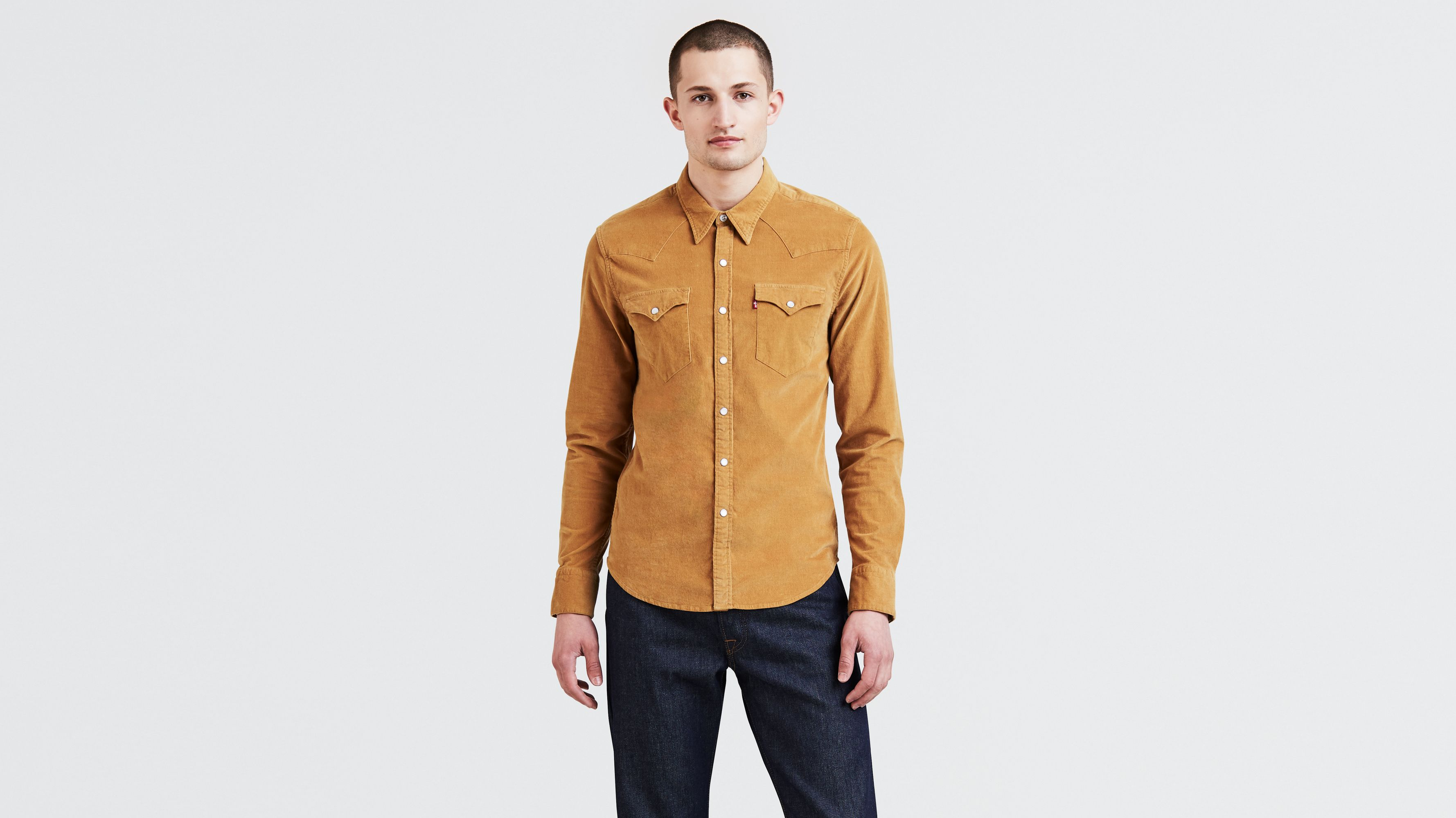 X-Future Men Vintage Regular Fit Button Down Flap Pockets Long-Sleeve Corduroy Shirts