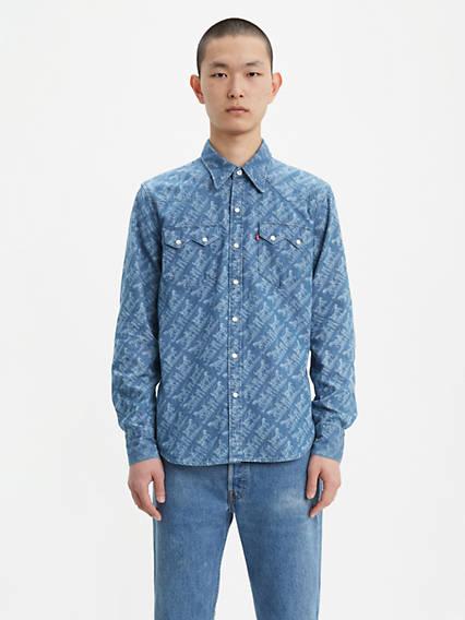 Printed Sawtooth Western Shirt