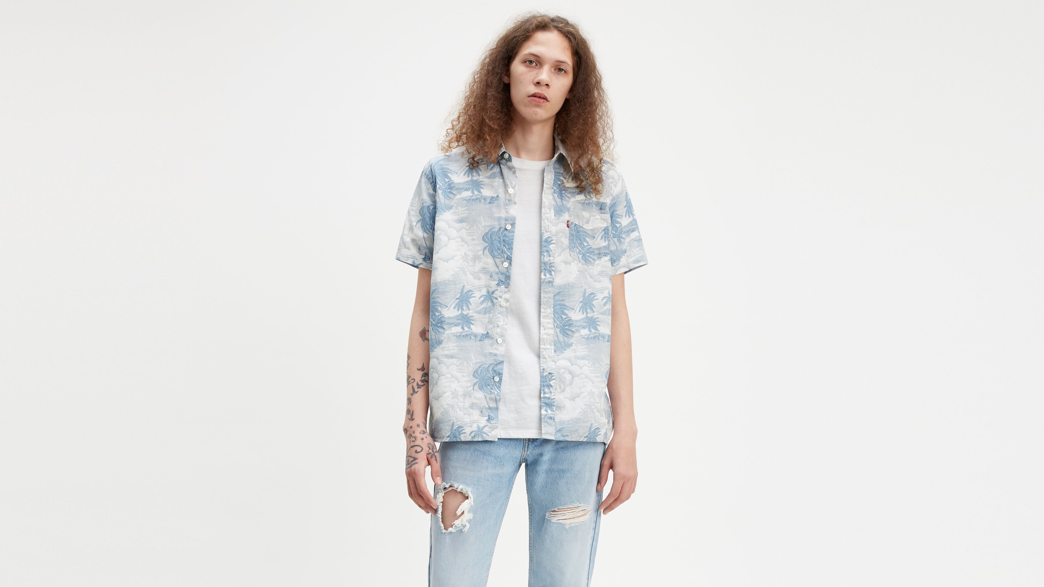 8098b14d2 Printed Short Sleeve Sunset One Pocket Shirt - Blue | Levi's® US