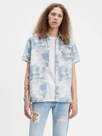 Printed Short Sleeve Sunset One Pocket Shirt