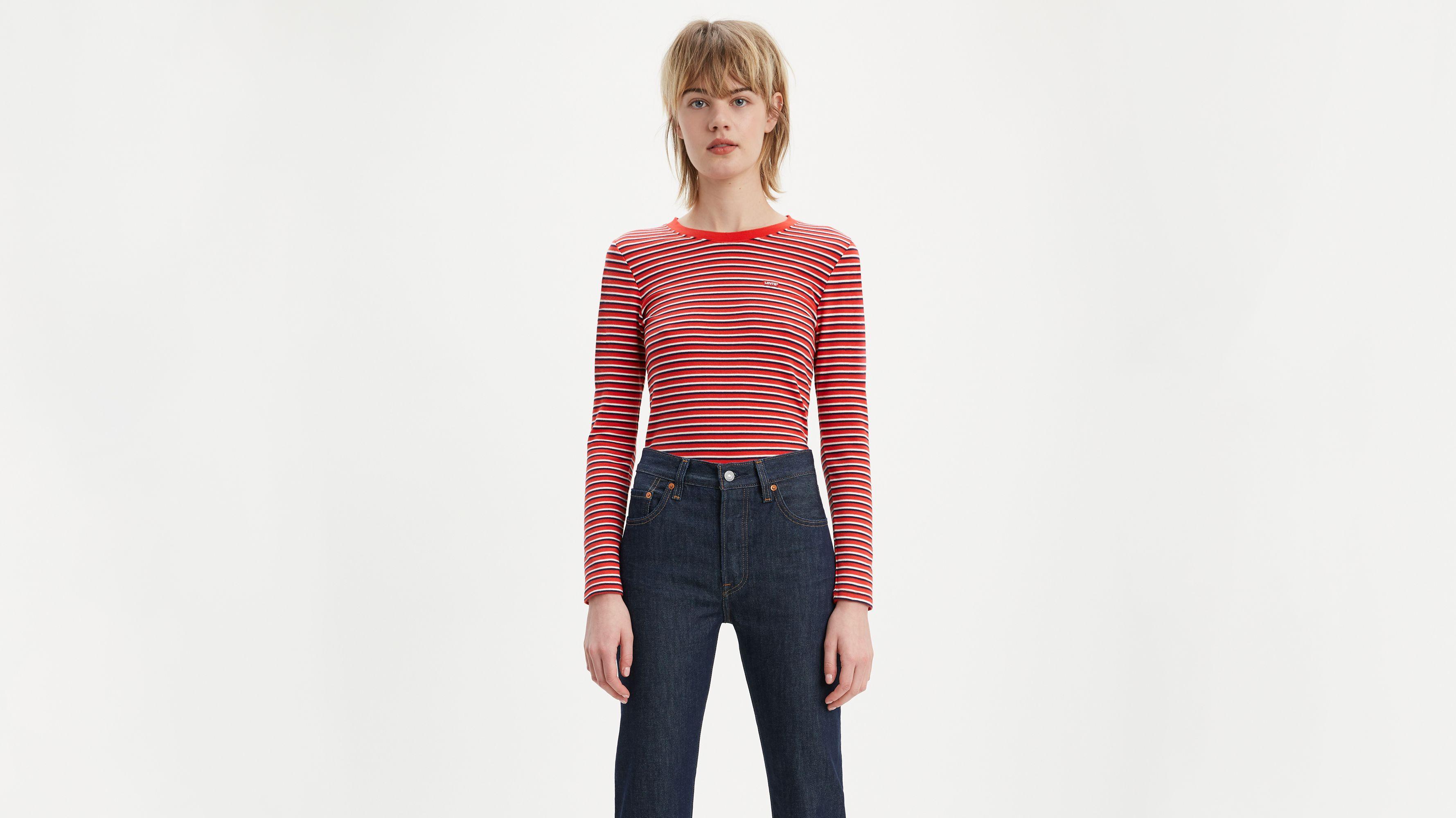 Striped Longsleeve Baby Tee Shirt