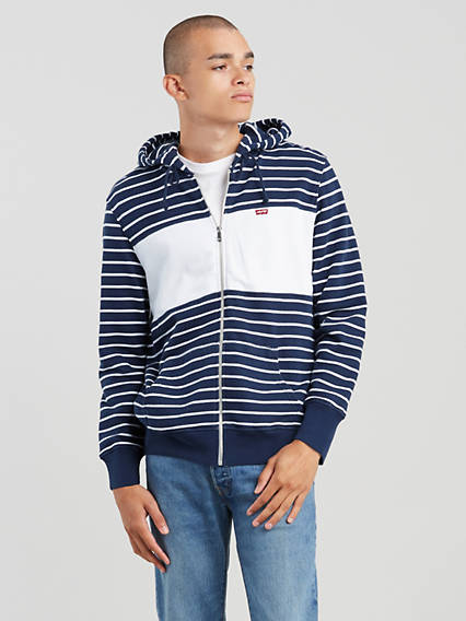 Classic Blocked Zip Up Sweatshirt