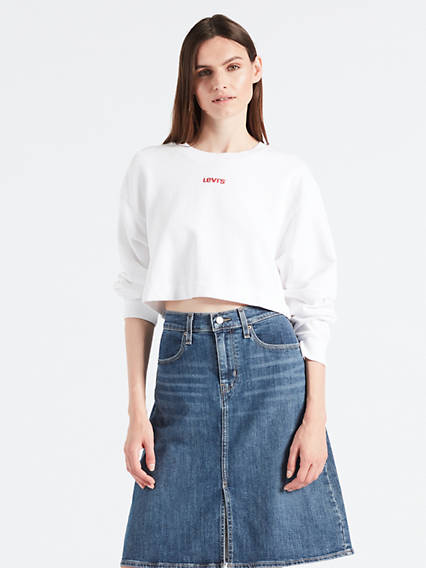 Graphic Cropped Crew Sweatshirt