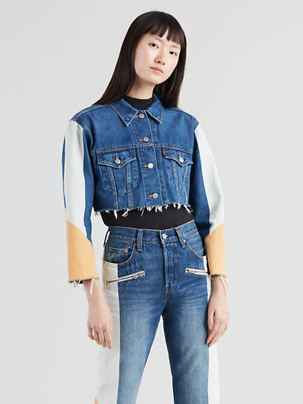Cut-Off Cropped Moto Trucker Jacket