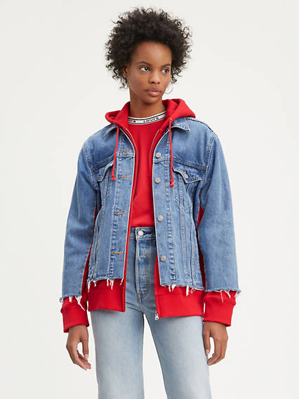 Ex-Boyfriend Hybrid Hooded Trucker Jacket
