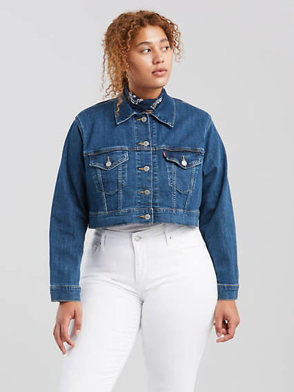 Cropped Trucker Jacket (Plus Size)