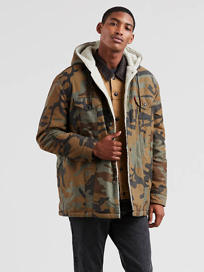 726472512485c Levi's® X Justin Timberlake Sherpa Hooded Trucker Jacket - Green | Levi's®  US