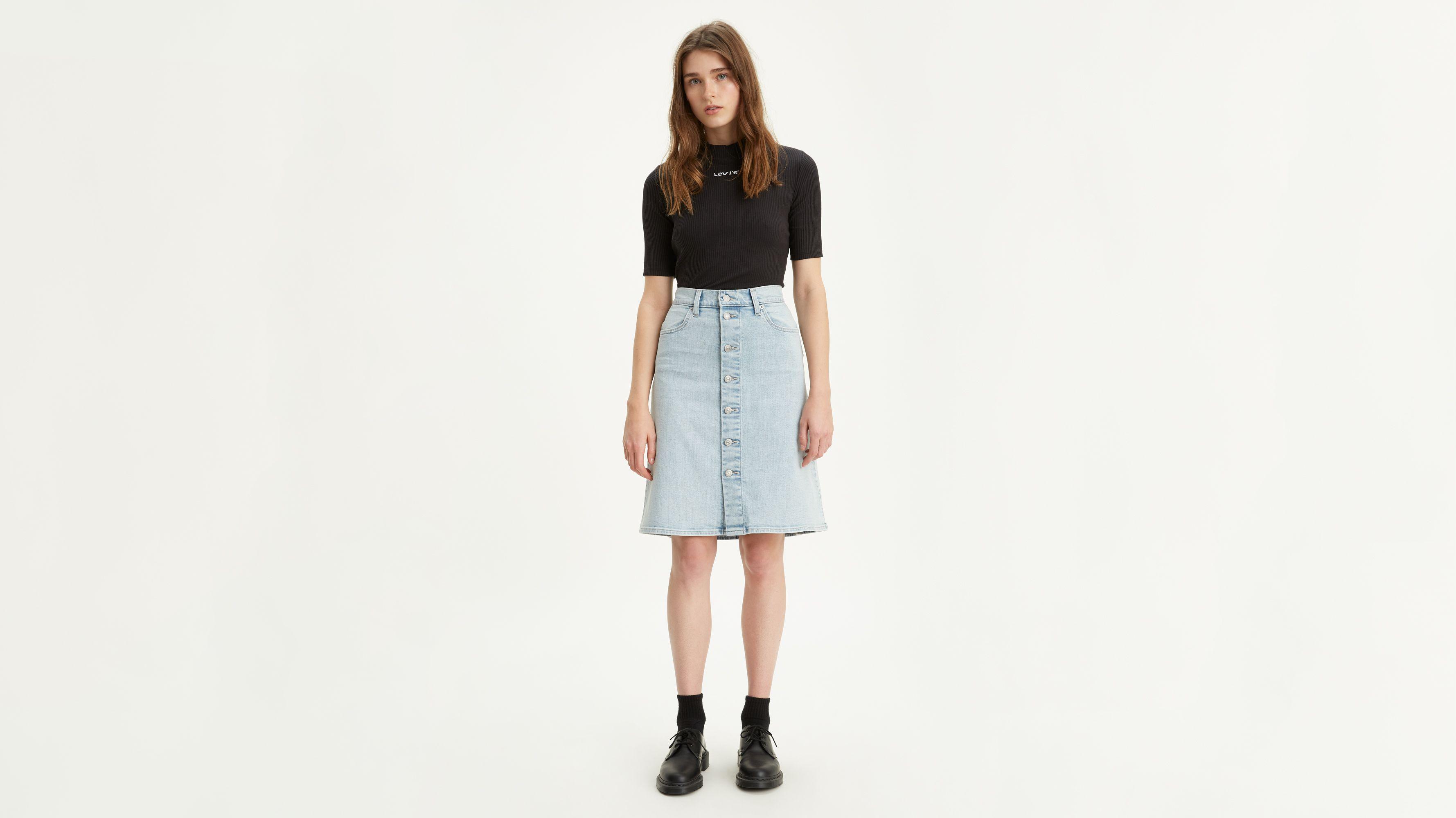 3e68c378362 A Line Midi Button Skirt - Light Indigo | Levi's® ES