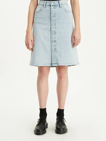 A Line Mini Button Skirt