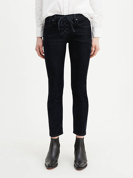 Lace Up Cigarette Women's Jeans