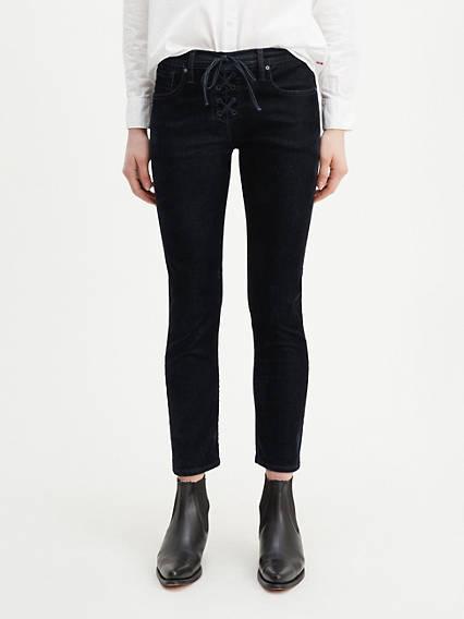 Lace Up Cigarette Women's Jeans