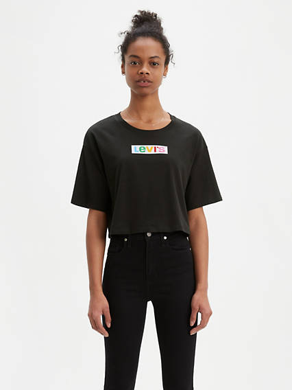 Graphic Oversize Tee Shirt Rainbow Box Tab