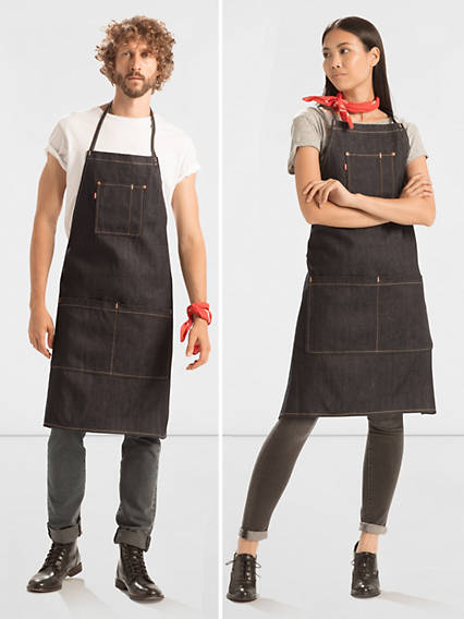 Vintage Aprons, Retro Aprons, Old Fashioned Aprons & Patterns Levis Rigid Denim Apron - Mens 1 $49.50 AT vintagedancer.com