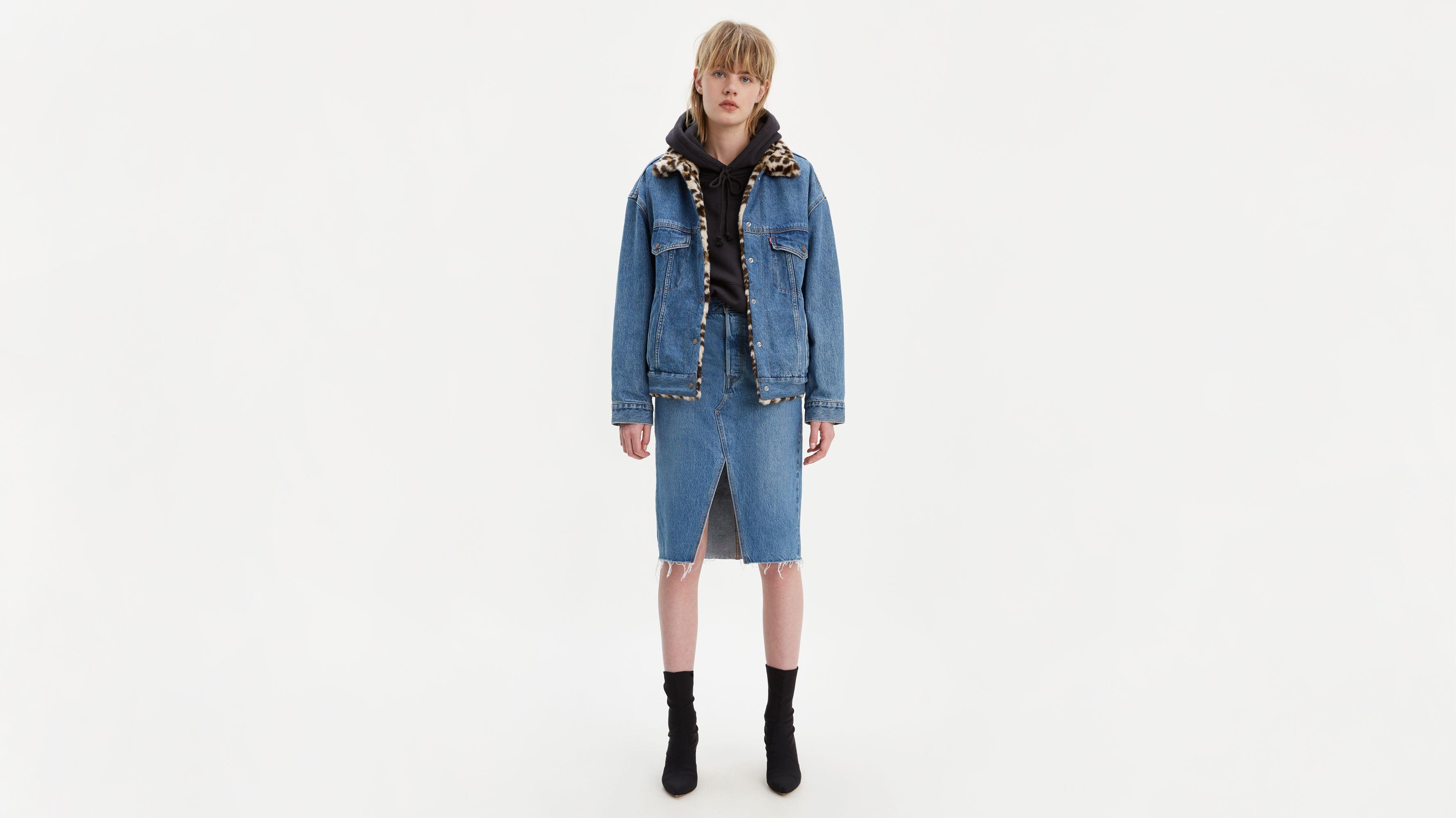 High Rise Deconstructed Midi Skirt