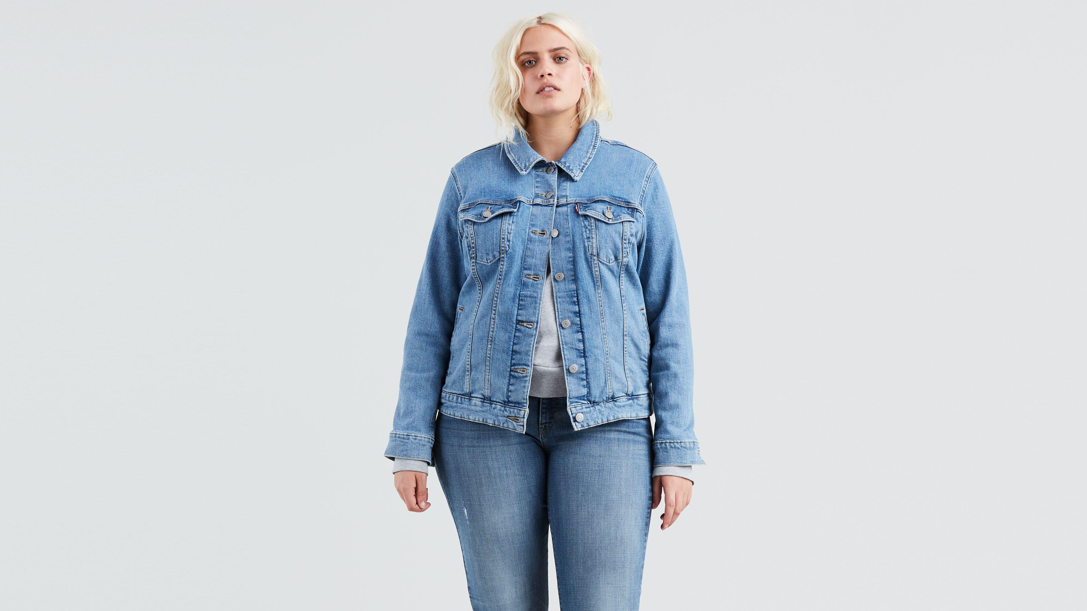 Womens Size 16 18 20 22 Stretch Denim Jacket Ladies Jean Jackets Mid Blue
