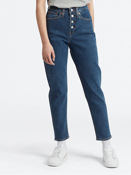 Exposed Button Mom Jeans