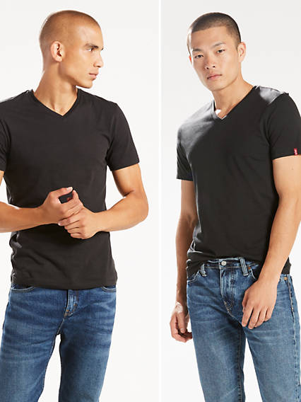 Slim Fit V-Neck Tees (2 Pack)