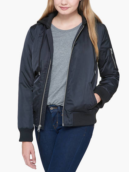 Satin Hooded Bomber Jacket