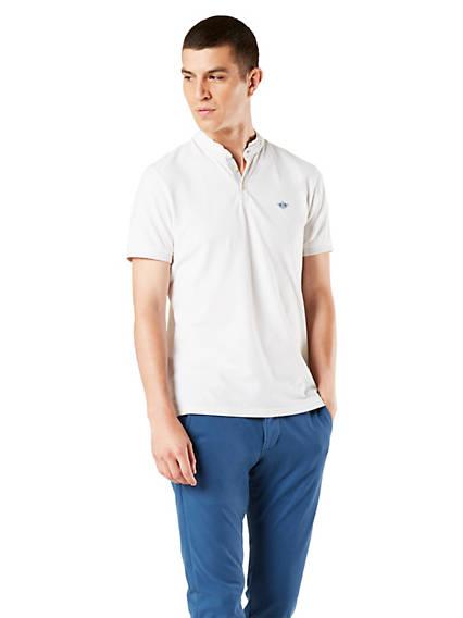 Men's Mock Neck Performance Polo Shirt