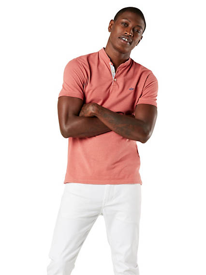 Men's Mock Neck Performance Polo Shirt