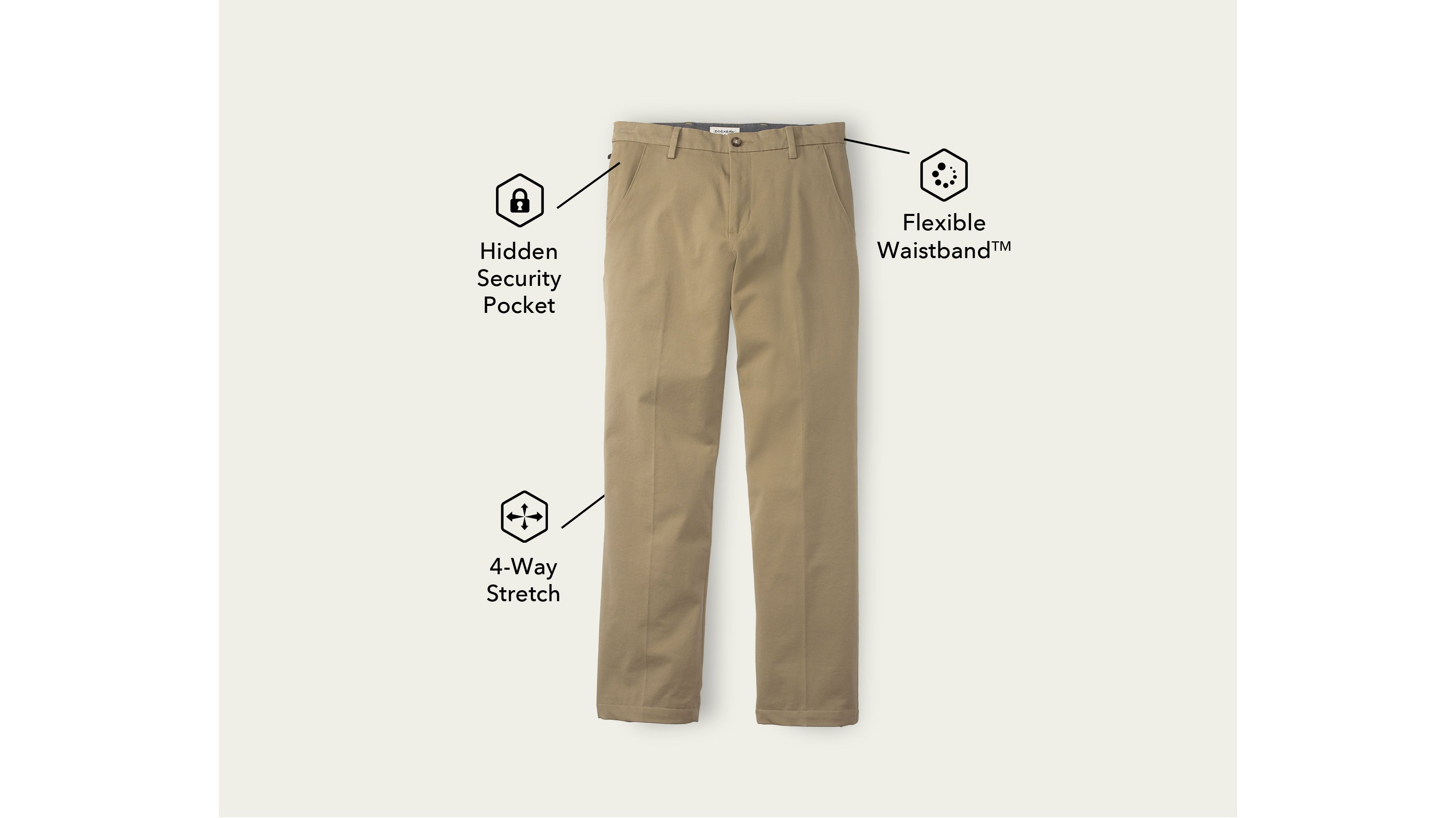 Men's Workday Khaki Pants, Straight Fit Tan 398980001