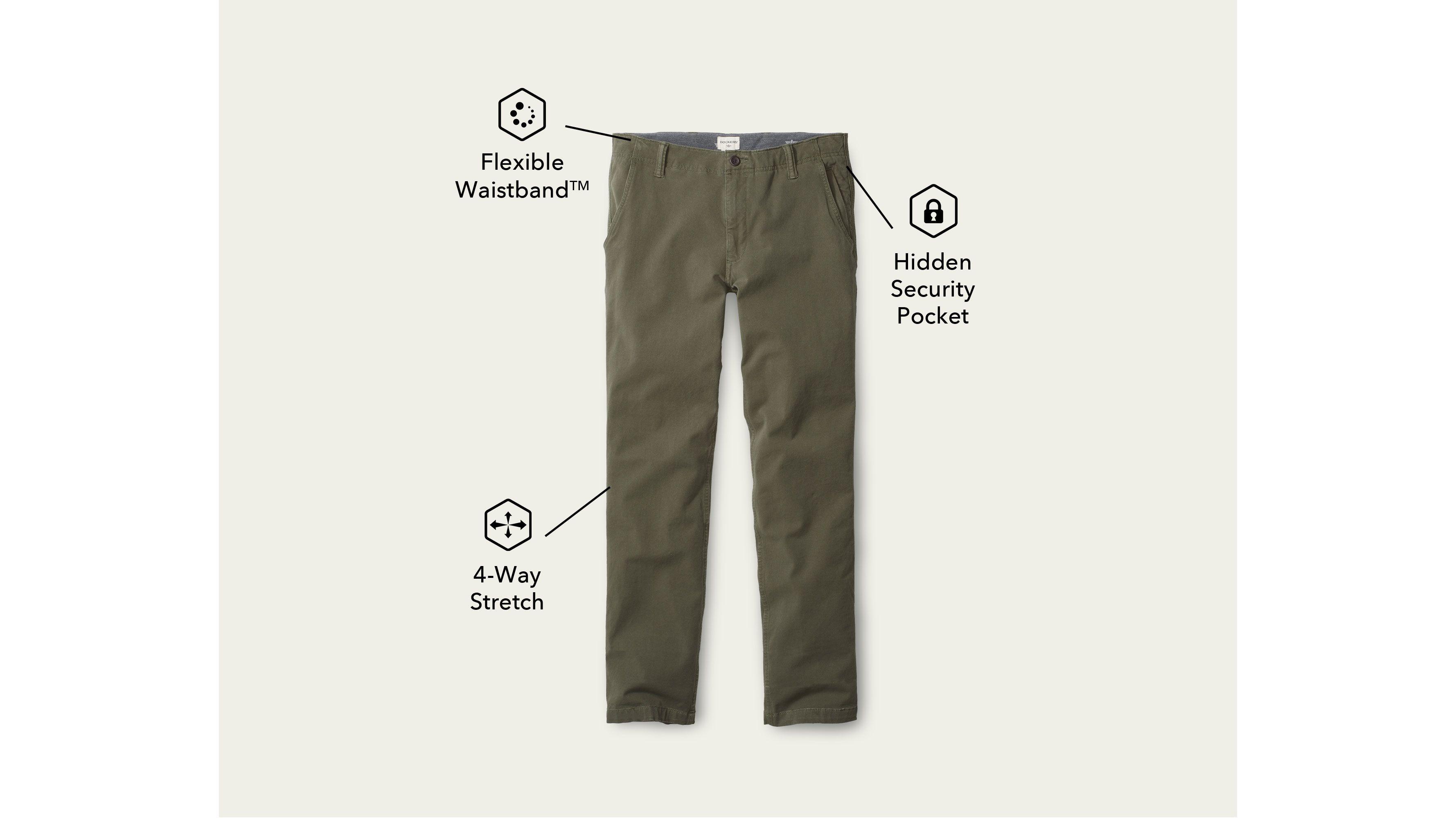 Dockers Mens Skinny Fit Downtime Khaki Smart 360 Flex Pants