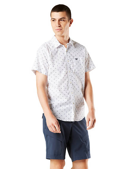 Men's Washed Poplin Button-Up Shirt, Standard Fit