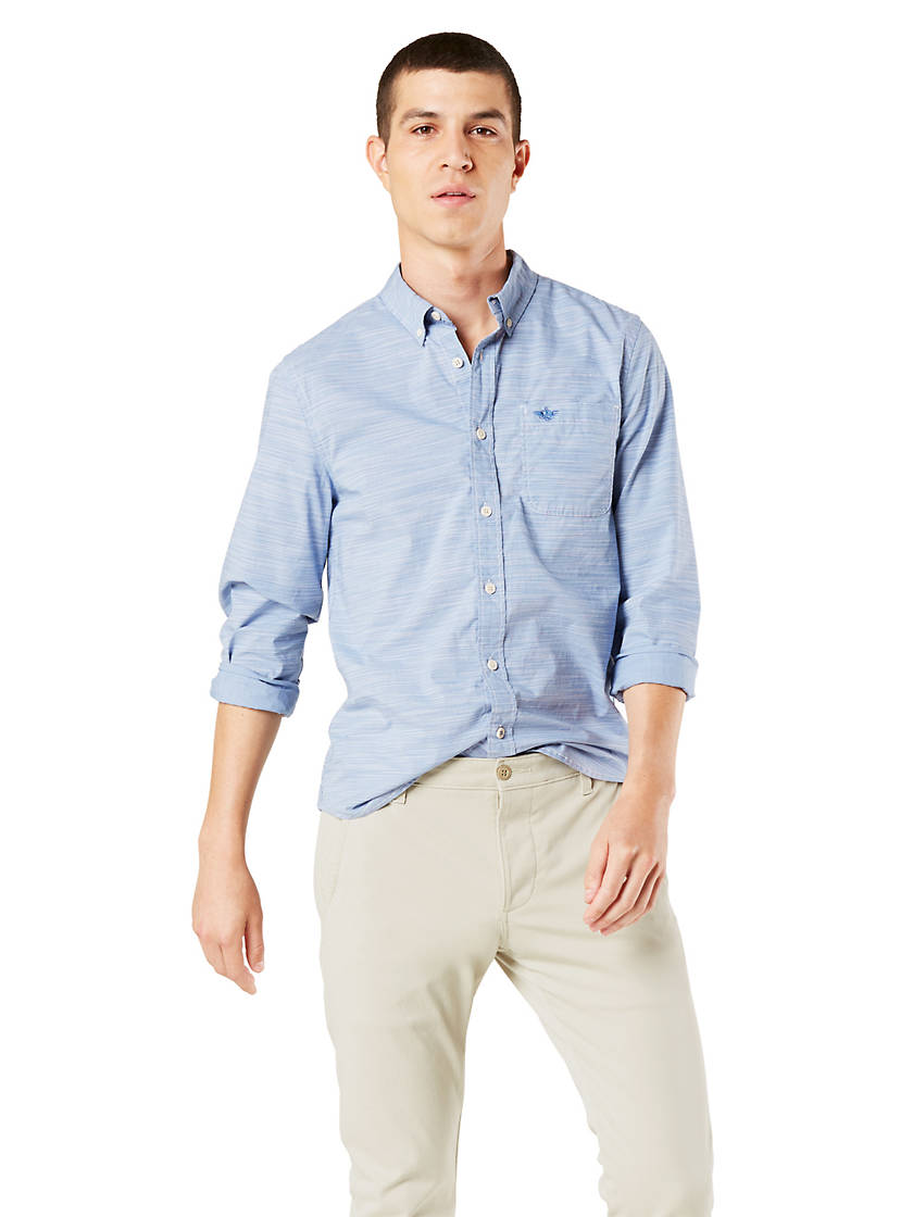 5-Pack Dockers Mens Button-Down Shirt, Slim Fi