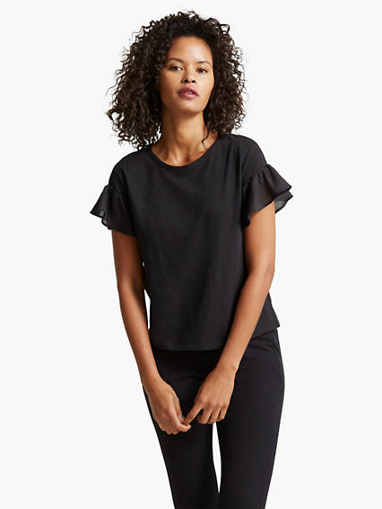 Women's Ruffle Sleeved Tee Shirt