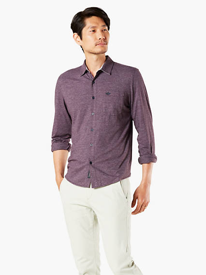 Men's Knit Button-Up Shirt, Slim Fit