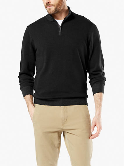 Men's Plaited Quarter Zip Sweater