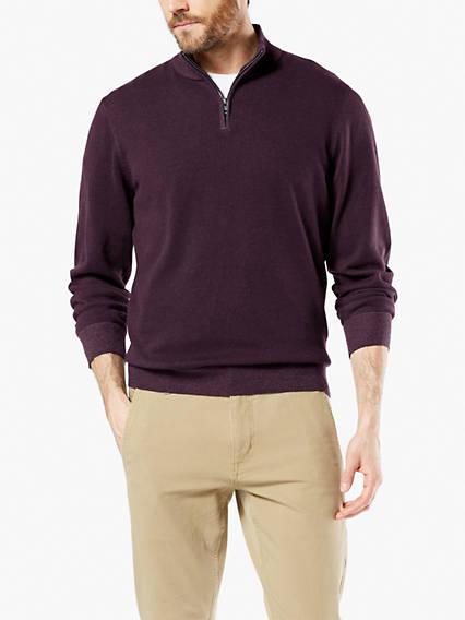 Men's Plaited Quarter Zip Sweater